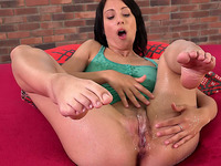 Neat babe shamelessly pees in front of the camera and she's got sexy legs