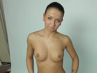 Wondrous brunette with natural tits is just more than happy to give BJ