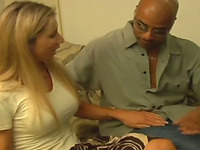 Blonde milf with big tits riding black schlong