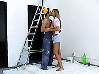 Sweet lean young blondie blows dick of a young worker in the apartment