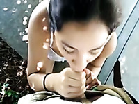 Pretty Latina girlfriend does her best as she gives a sensual blowjob
