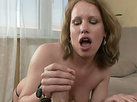 Dirty light haired MILF with passion sucks massive dick before analfuck