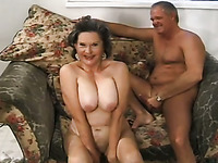 Grey haired chubby mature nympho with big rack is fucked doggy