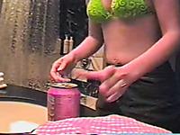Sweet looking wife masturbates on a hidden camera