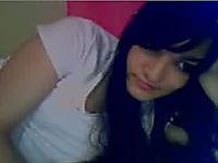 Cute brunette teen chick shows her sexy legs on webcam