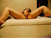 Busty and hot chick masturbating on homemade video