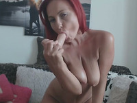 Super Fit And Horny Redhead Milf Fucks Dildo