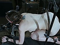 This submissive chick can't escape out of bondage and she is so helpless