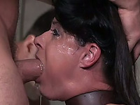 Chained amateur brunette with natural tits is brutally fucked by studs
