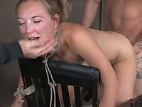 Being handcuffed all naked light haired bitch gets fucked by studs (FMM)