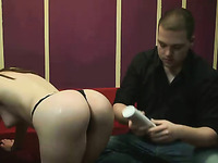 Lusty cam chick treats her own BF with a lewd lap dance