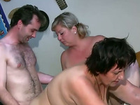 Here's another hot threesome session with horny BBW grannies