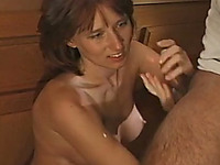 Cum-thirsty red head gives the best ever blowjob and handjob