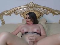 Pretty Hot Tranny Babe Faps her Cock