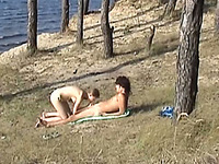 Voyeur sex video of a Russian couple fucking outdoors