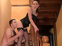 Elegant Russian black haired girl gets fucked on the stairs