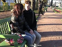 Chubby Russian gal takes a walk with her bf in the park