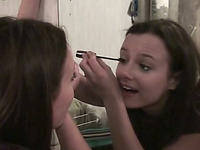 Sweet Russian girl Nastys puts on makeup while BF rubs her tits