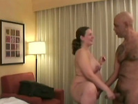 Chubby pregnant chick gets fucked doggystyle by bald dude