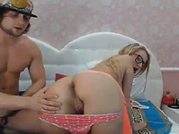 Nerdy Blonde Babe Swallow The Hot Cum After Fucking