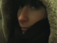 Zealous brunette Russian chick Vika gives head in dark room