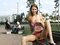 Tall and lean 18 yo Russian girlfriend flashes in park