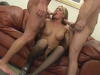 This blonde loves DP and she loves having her face cum on after a steamy sex