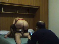 Cuckold husband took photos and filmed his wife riding on me