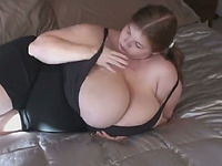 My 22 yo BBW girlfriend fondles her ginormous R cup tits