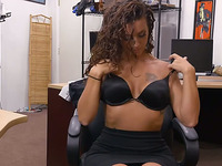 Sexy woman sucks off and gets drilled at the pawnshop