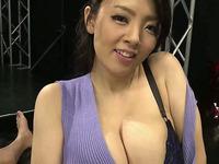 Big tits asian in purple shirt