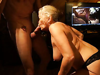 Check out how my mature blonde wife greedily blows my prick
