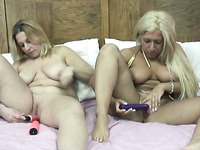 Fat and skanky blonde whores masturbating with dildos