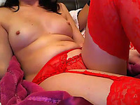 Lovely Turkish GF in red stockings masturbates for me