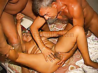 Geezers gone wild fucking one old chubby granny in MMF threesome