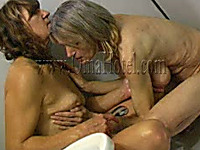 Brunette MILF takes shower with ugly saggy tittied lesbo granny
