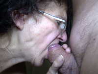 Fou eyed granny gives her lover one hell of a blowjob