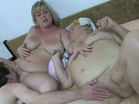 Fat women with big juicy boobs take part in a threesome