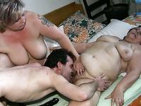 Two busty fat grannies get wild fucking in FFM threesome