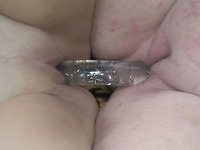 Naughty and horny lesbians make each other cum using a double dildo