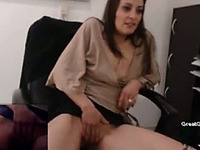 This naughty secretary can sure reach orgasm on her own at work