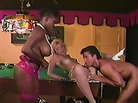 Busty ebony babe joins a white couple for threesome