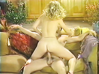 Doggy style fuck for the petite blonde babe on the couch
