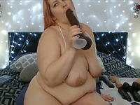 Fat and BBW Loves Only Huge Toys Inside Her