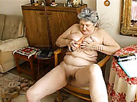 Naughty and horny granny fucks her pussy with her sex toy