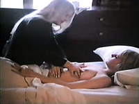 Two vintage lesbian babes plays in their bed with each other