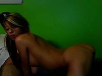 Hot latina teen girlfriend sucks and fucks on webcam