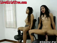 Two Hot Asian Webcam Slut Riding Dildos