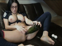 Crazy Hot Step Mom Rams A Bat in Pussy