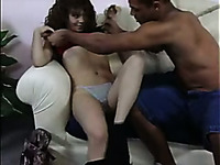 Natural buxom GF gets her wet pussy licked well by my black buddy